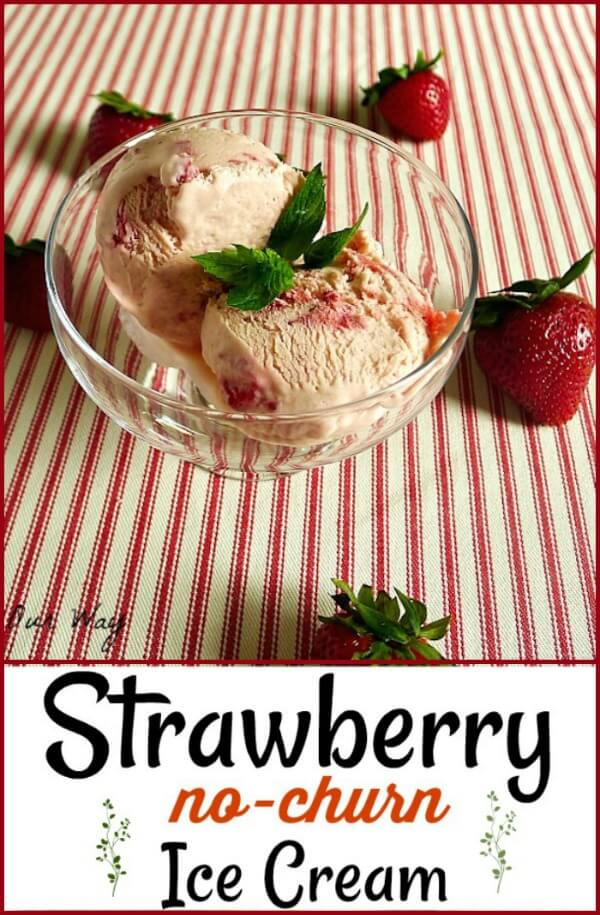 Two scoops Strawberry No-churn ice cream in a glass stemmed bowl. Red pin tucking table cloth under the glasses and ripe red strawberries scattered on table cloth.