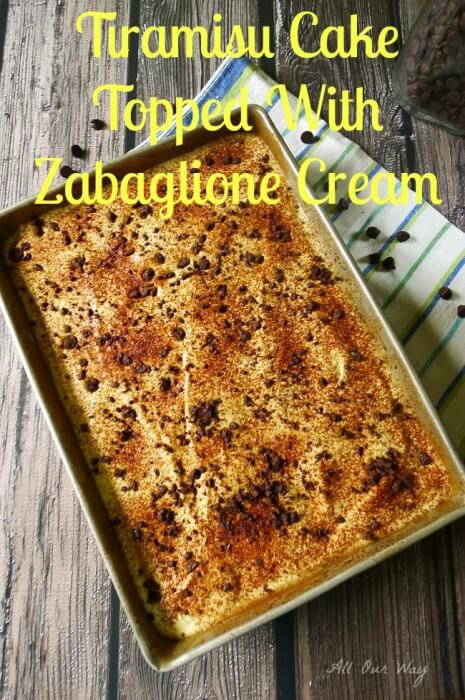 Tiramisu Cake Topped with Zabaglione Cream @ allourway.com