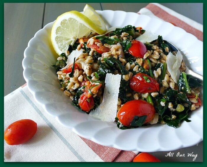 Warm Tuscan Farro Salad with kale, grape tomatoes and shaved pecorino @allourwaycom