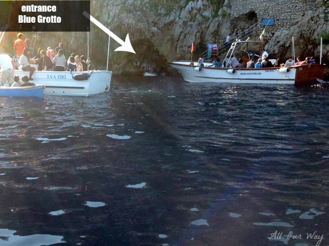 Visitors waiting to enter the Blue Grotto (Grotta Azzurra) in Capri, Italy @allourway.com