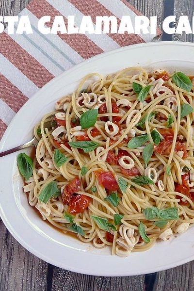 Calamari Capri with Pasta Seasoned with lemon, garlic, hot pepper flakes and capers @allourway.com