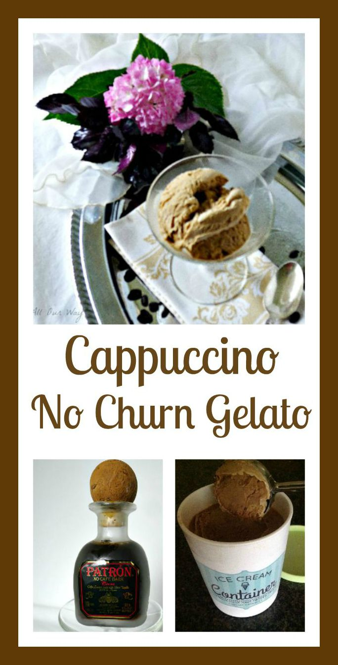 Collage of Cappuccino Gelato is a no churn recipe that is easy to make and flavored with espresso and coffee liqueur @ allourway.com