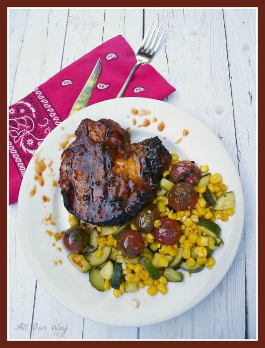 Corn, Tomato, Zucchini Sauté with Barbecued Pork Chops @ allourway.com