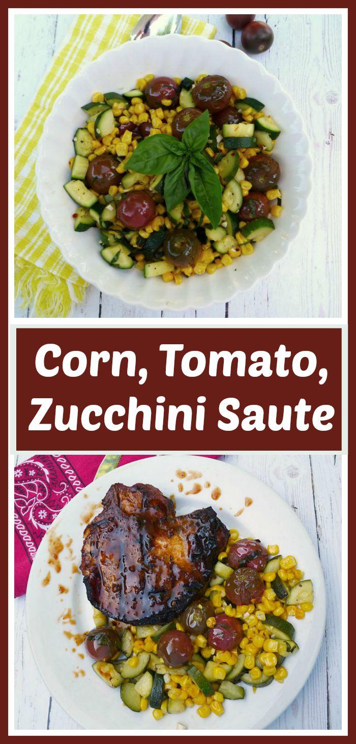 Corn, Tomato, Zucchini Sauté served with Barbecued Pork Chops @allourway.com