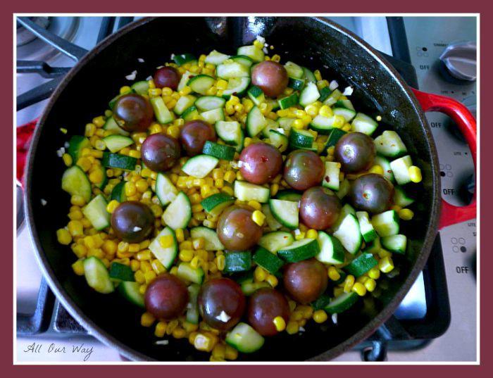 Corn, Tomato, Zucchini sautéed in skillet with garlic @allourway.com
