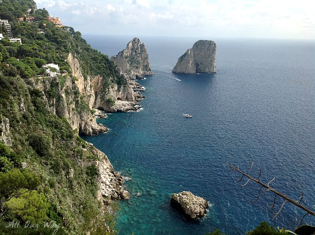 Faraglioni Rocks as seen from Capri Town @ allourway.com
