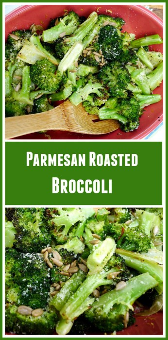 Parmesan Roasted Broccoli with Garlic, Lemon and Sunflower Seeds @allourway.com