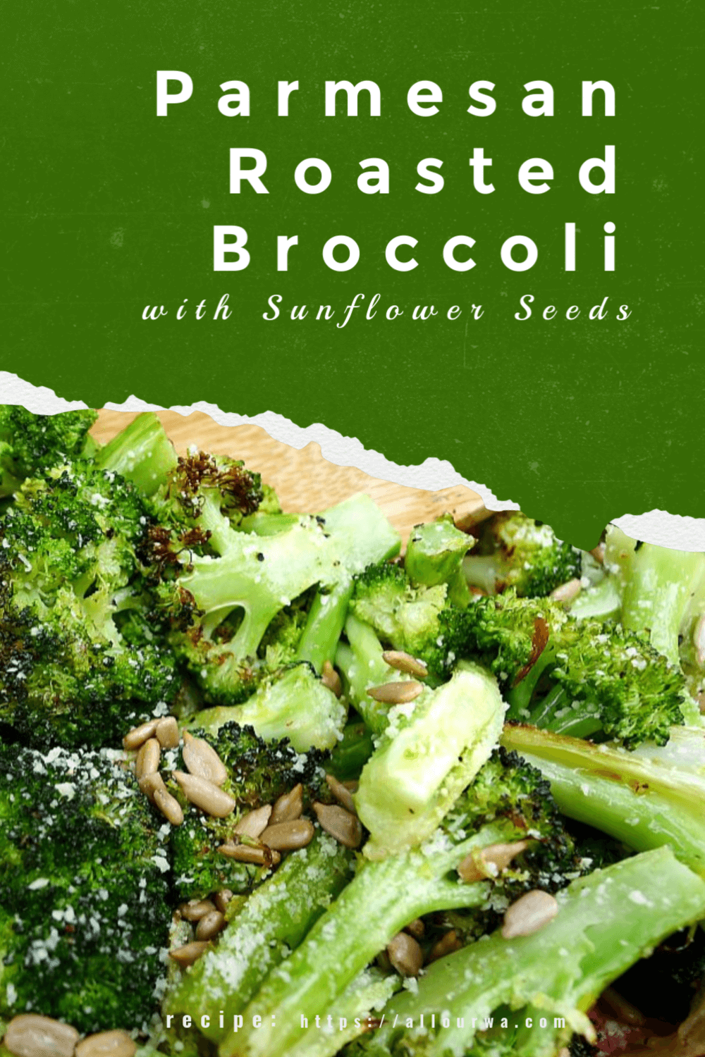 An easy and healthy way to prepare broccoli. It is tossed with olive oil and then roasted with garlic. The roasted broccoli is finished with Parmesan cheese, fresh lemon juice and zest with a sprinkle of sunflower seeds. A fresh and bright taste to a favorite veggie.