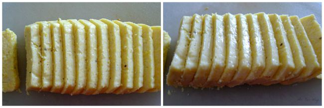 Polenta is sliced and ready to add panko crumbs @ allourway.com