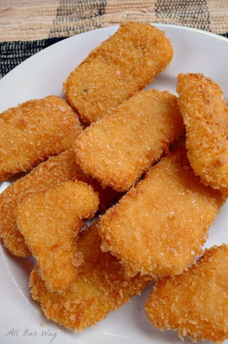 Fried Polenta Appetizers are Coated with Panko Crumbs @allourway.com