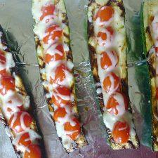 Grilled Stuffed Zucchini with Mozzarella Cheese @allourway.com