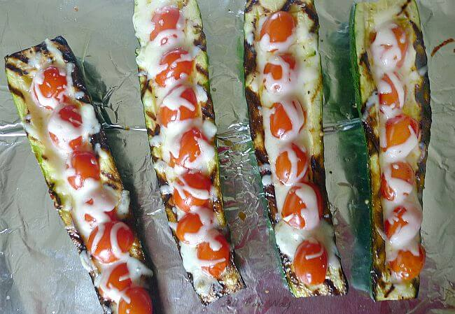 Grilled Stuffed Zucchini with Mozzarella Cheese @allourway.com