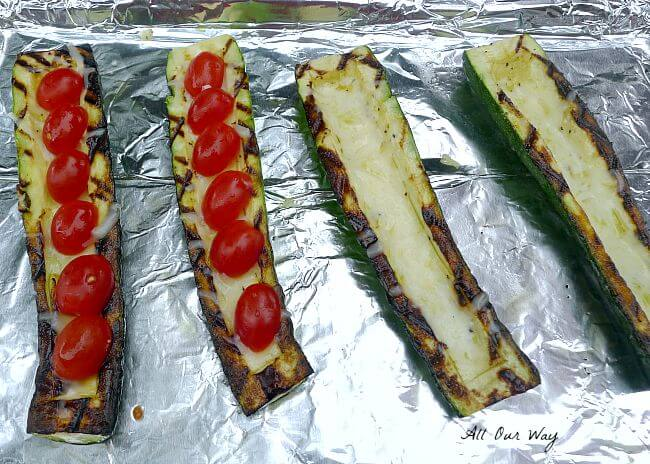 Grilled Stuffed Zucchini is First Bathed in Olive Oil @ allourway.com
