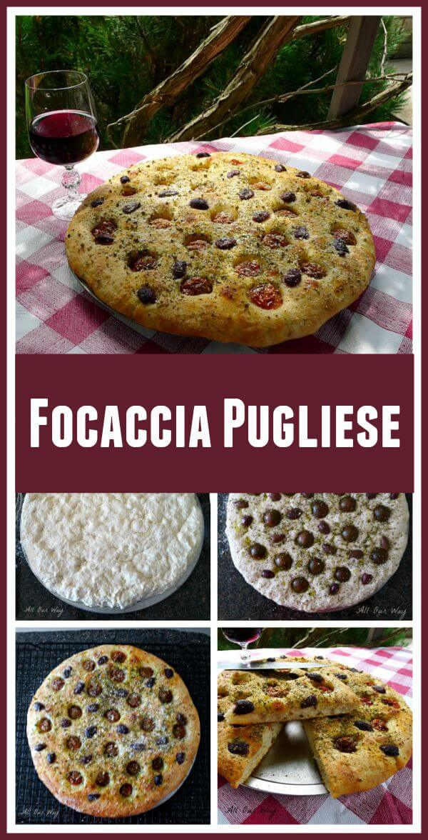 Focaccia Pugliese a delicious bread with cherry tomatoes and kalamata olives on top of red checkered tablecloth with glass of red wine next to the bread all outdoors under the pergola.  @allourway.com