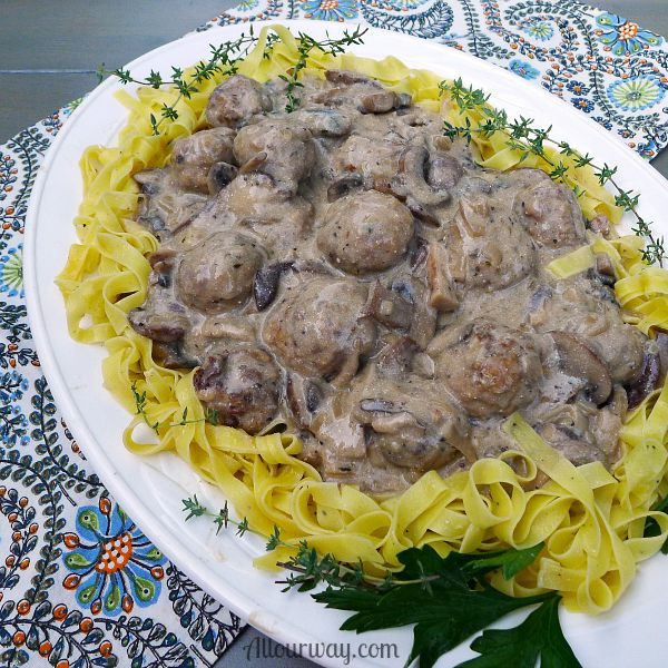 Italian Meatballs in Creamy Mushroom Sauce @allourway.com