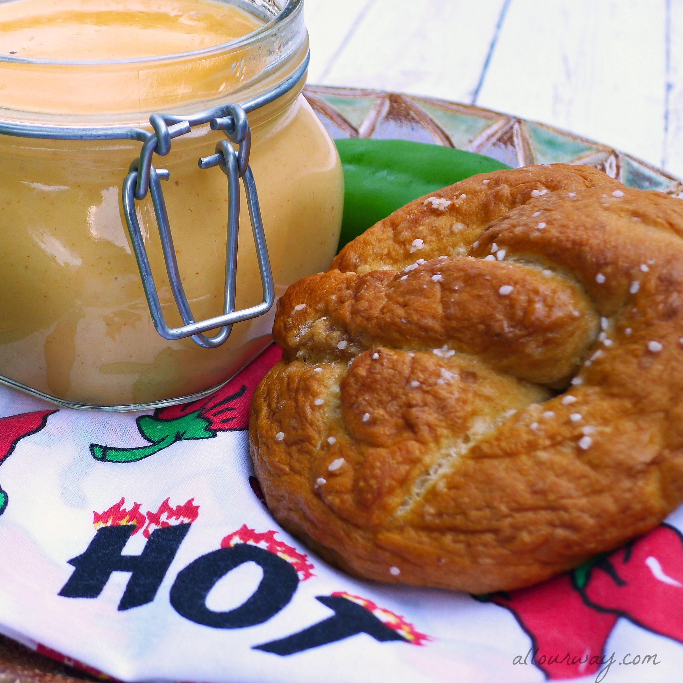 Soft Pretzels served with Spicy Cheese Sauce @allourway.com