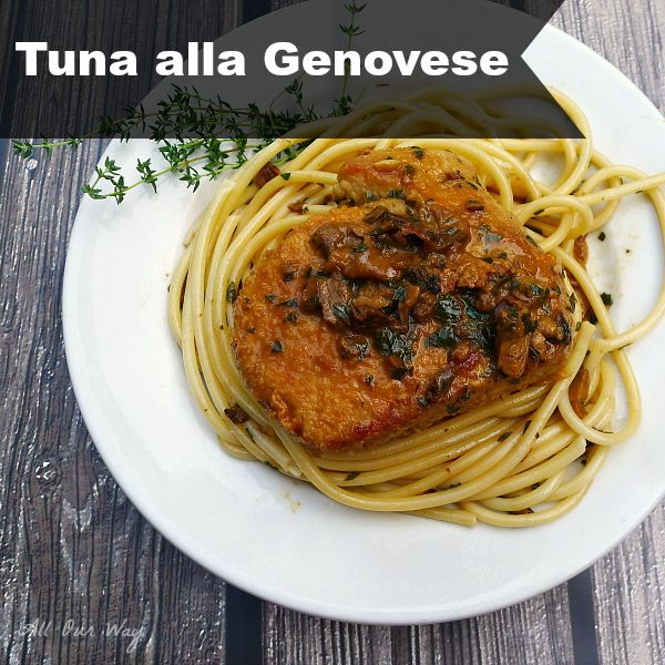 Tuna alla Genovese with Mushroom sauce over pasta @allourway.com