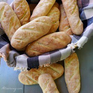 Crusty Italian Sandwich Rolls in Basket Ready to Be Filled @ Allourway.com