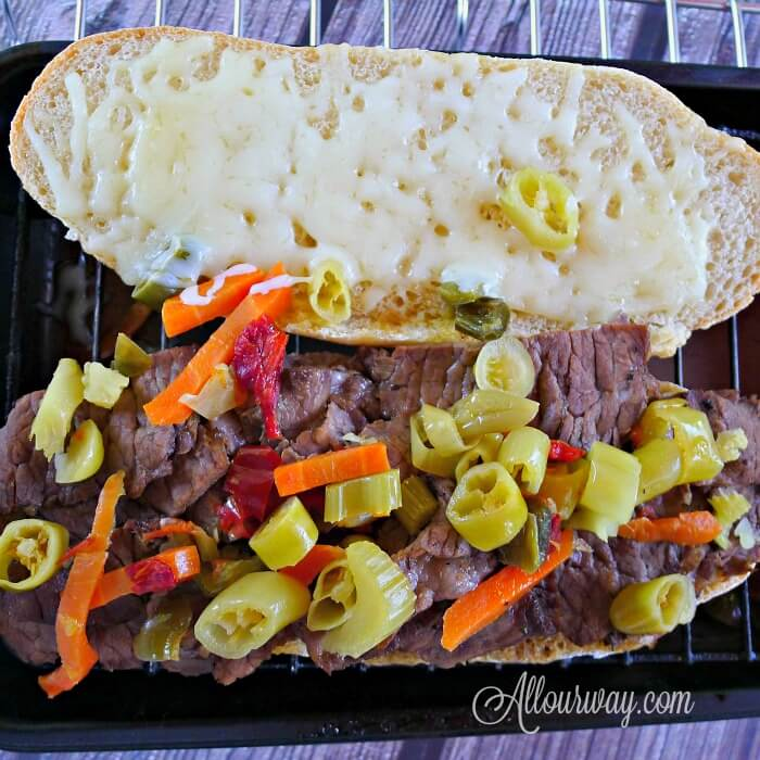 Italian Beef Chicago Style All Our Way with Mozzarella cheese and Giardiniera @ allourway.com