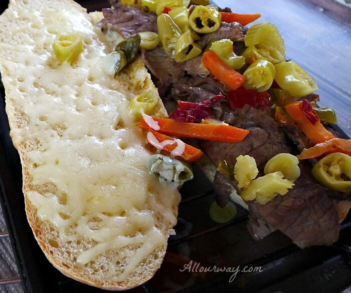 Italian Beef Chicago Style All Our Way with Mozzarella and hot giardiniera @allourway.com