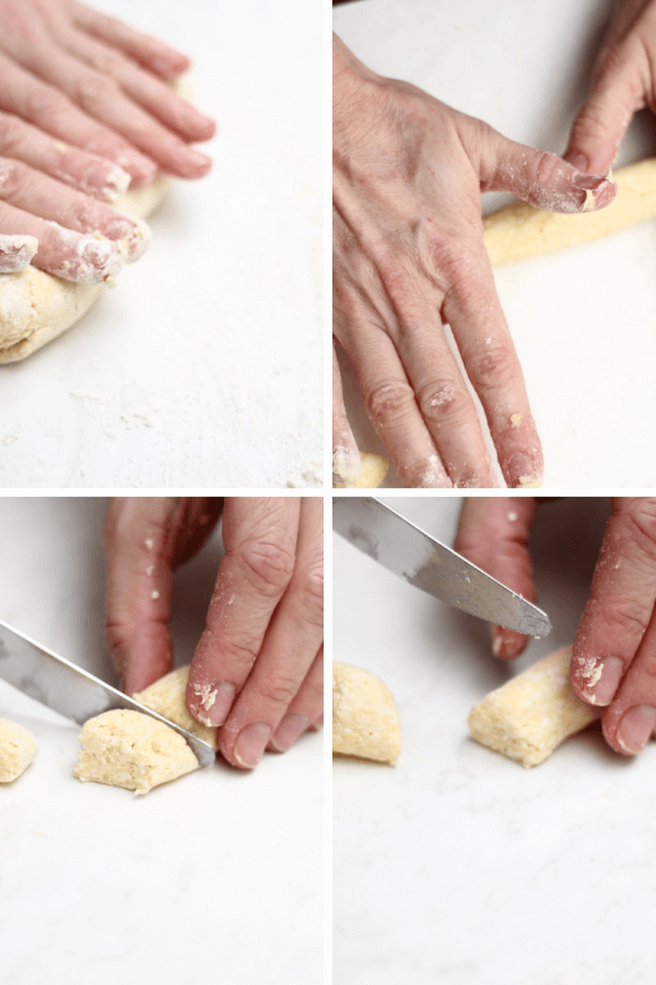 Collage with hands rolling and cutting dumplings.