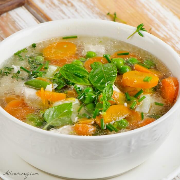 Chicken Minestrone soup with seasonal vegetables @allourway.com