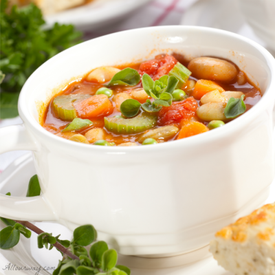 Chicken Minestrone alla All Our Way with seasonal vegetables, beans and pasta@ allourway.com