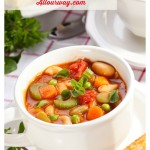 Chicken Minestone with seasonal vegetable, beans and pasta @allourway.com