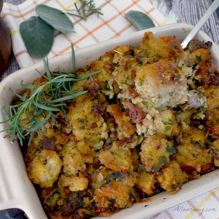 An Exceptional Thanksgiving Menu with Italian Sausage Dressing made with Parmesan and sun dried tomatoes and Italian seasonings - a tasty change