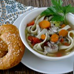Homemade Chicken Noodle Soup served with Homemade Pretzel @allourway.com