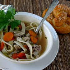 Homemade Chicken Noodle Soup not quite like mom's it is spiced with Ro-tel tomatoes @allourway.com