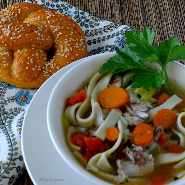 Homemade Chicken Noodle Soup is spiced with Ro-tel tomatoes @allourway.com