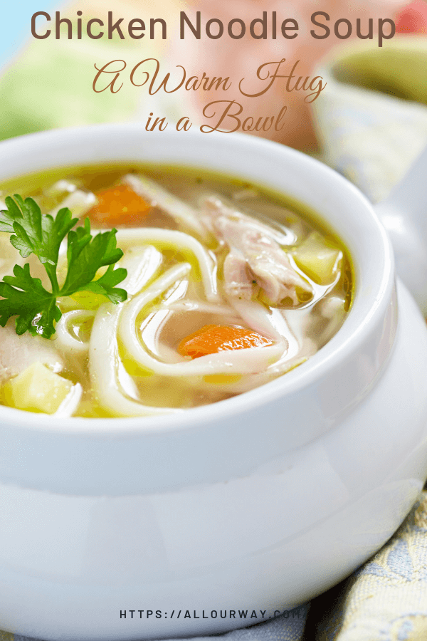 A comforting homemade chicken soup like mamma used to make except it has an ingredient that kicks it up several notches -- Ro-tel tomatoes. We add enough spice to make it tasty and tummy warming. Nothing says lovin' like a big bowl of soup.