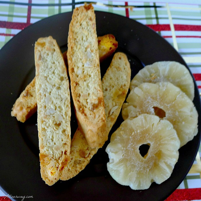 Piña Colada Biscotti a crunchy Italian cookie. Pineapple, coconut and macadamia nuts adds a tropical touch @allourway.com
