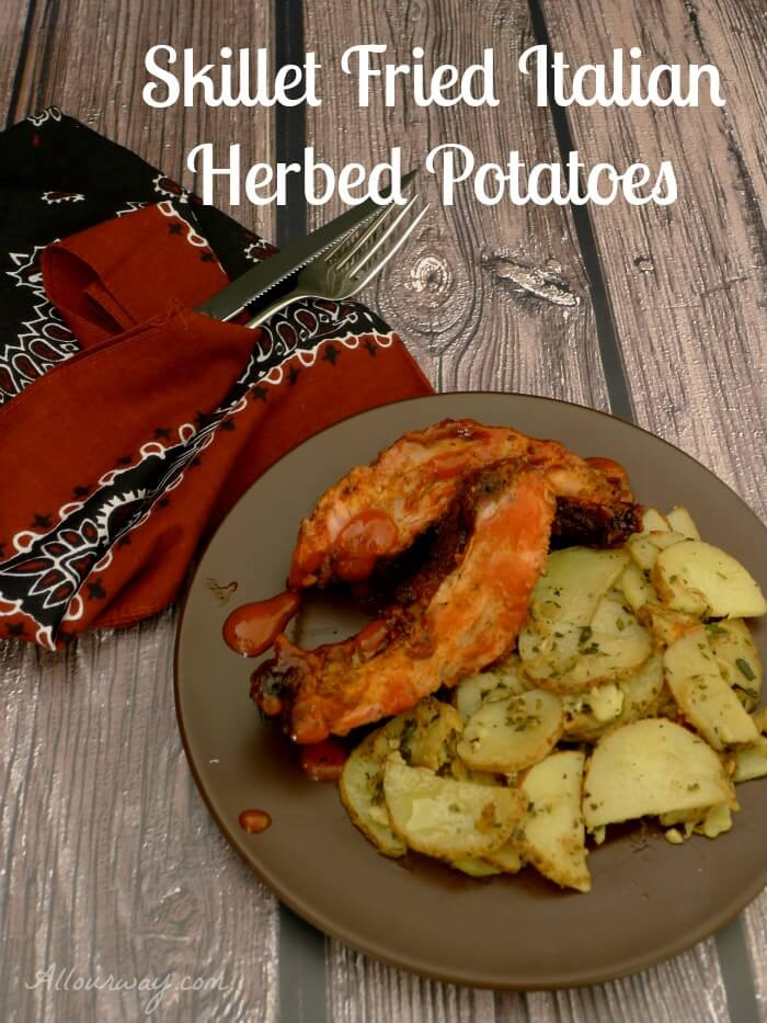 Skillet Fried Italian Herbed Potatoes are served with Barbecued Babyback ribs @allourway.com