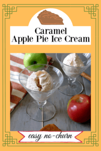 Two goblets of Caramel Ice cream with apples and cinnamon on the gray table.