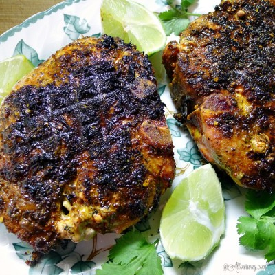 Grilled Lime Adobo Rubbed Pork Chops