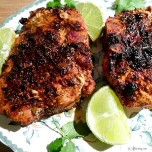 Grilled Lime Adobo Rubbed Pork Chops have the flavor of Mexican cuisine with just a touch of spice to perk up the tastebuds @allourway.com