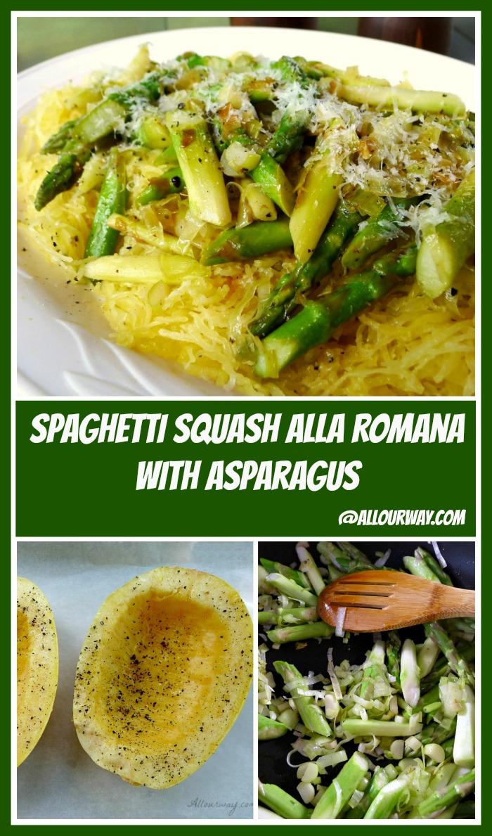 Spaghetti Squash alla Romana with Asparagus and Leeks @allourway.com