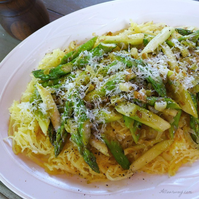 Spaghetti Squash alla Romana with Asparagus and Leeks @allourway.com