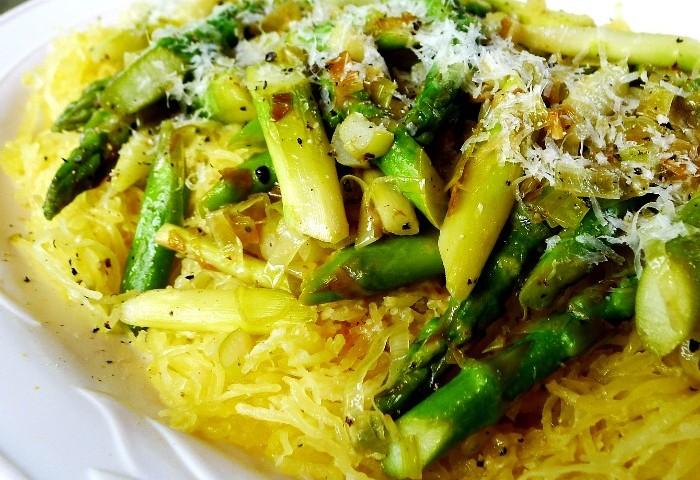 Spaghetti Squash Alla Romana with Asparagus