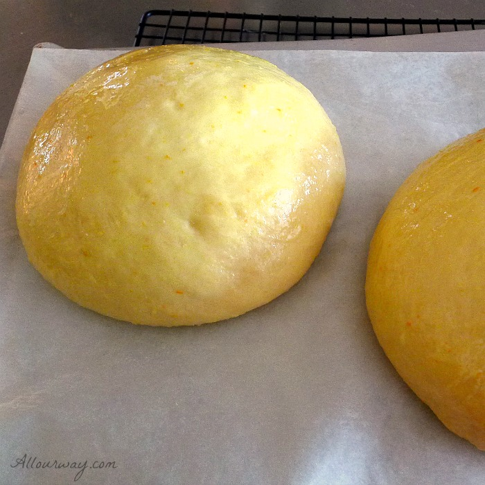 Pinza triestina dough rising is just about ready to be scored and put in oven @allourway.com