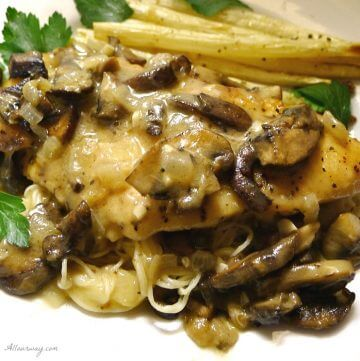 Chicken Marsala is a delicious chicken dish made with wine and mushrooms. Marsala wine is reduced to make a rich, thick sauce that contains onions, mushrooms and seasonings @allourway.com