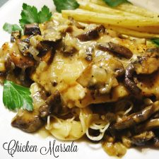 Chicken Marsala is a popular chicken dish that is made with a fortified wine and mushrooms. It is served over egg pasta @allourway.com