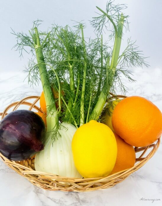 Fennel Orange Salad Ingredients of Fennel bulb, Oranges, Purple Onion, Lemon @allourway.com