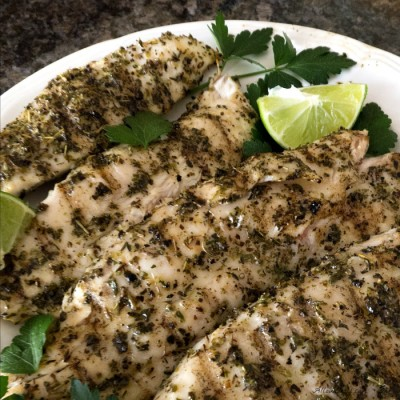 Grilled Lime Herb Fish with Truffle Oil