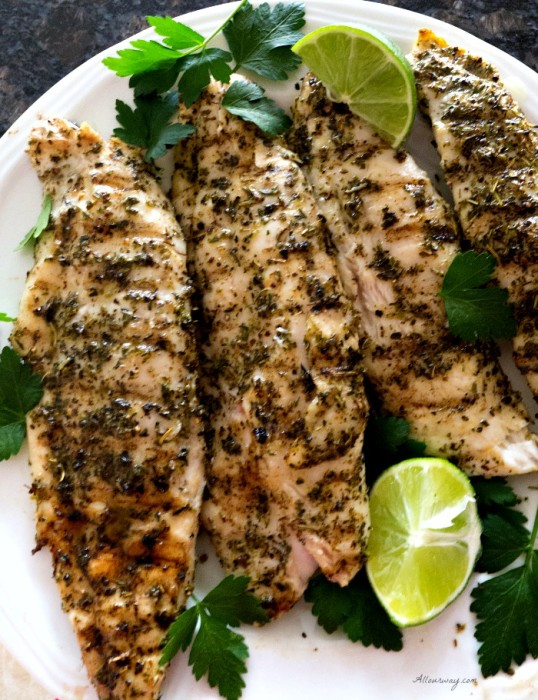 Grilled lime herb fish with truffle oil for Pompano fish recipe