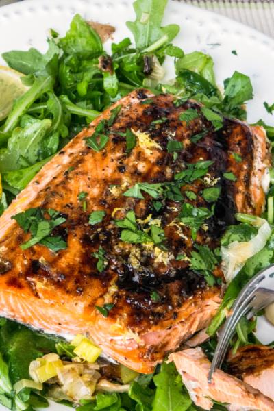 Roasted Salmon with Leeks, Shiitake, and Arugula
