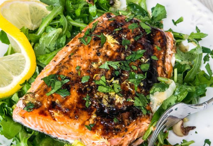 Roasted Salmon with Leek, Shiitake, & Arugula Salad