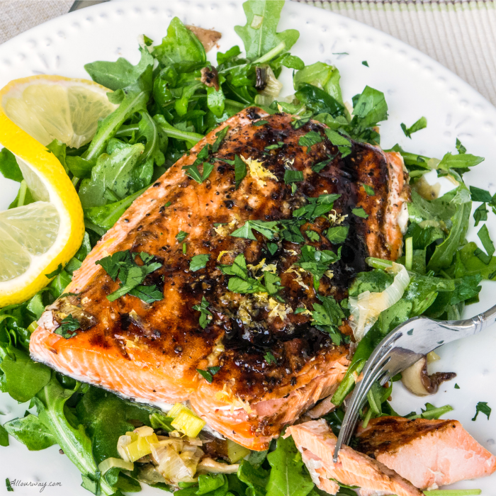 Roasted Salmon with Leeks, Shiitake, and Arugula